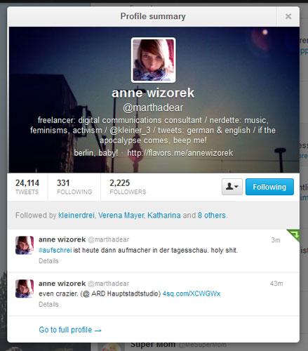 Profil von Hashtag-Erfinderin Anne Wizorek, @marthadear am 26.01.2013