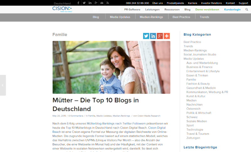 cision top mutter blogs