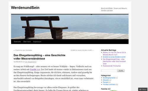 Screenshot Werden und Sein Blog von Tina