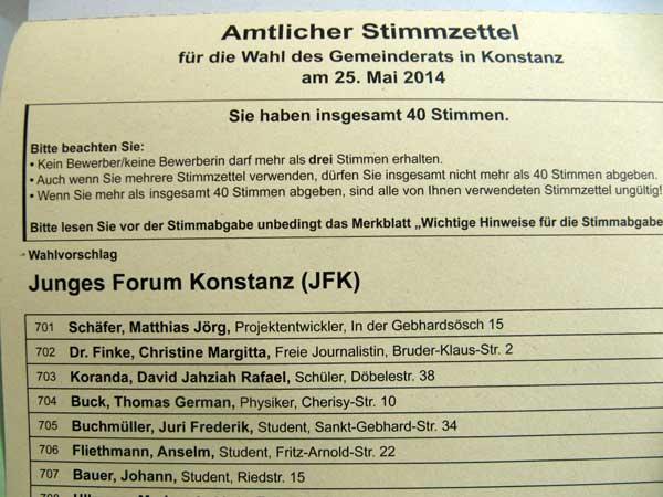 Wahlliste des Jungen Forums Konstanz, offizieller Stimmzettel