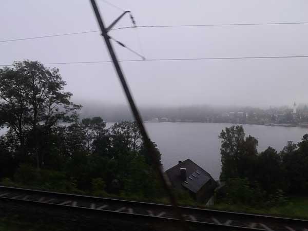 Titisee im Nebelregen, auf der Fahrt zur Klausurtagung am 11.07.2014
