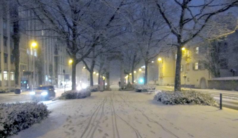 Schneetreiben auf der Laube in Konstanz