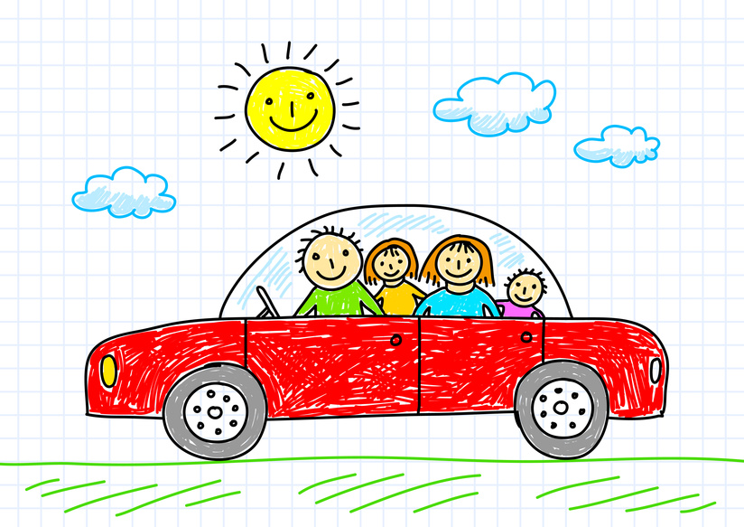 Clipart Car With Woman Driving Family