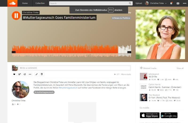Radiobeitrag zu #muttertagswunsch auf Soundcloud