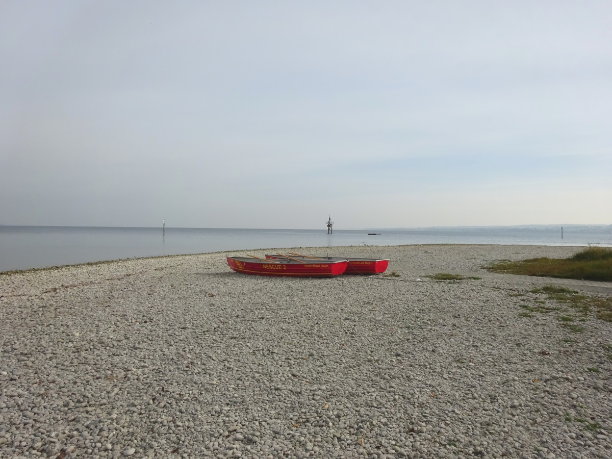 Boote am Hörnle Konstanz bei Niedrigwasser
